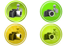 3d man with camera and note icon Royalty Free Stock Photos