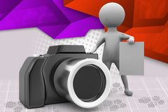 3d man with camera and note illustration Royalty Free Stock Photos