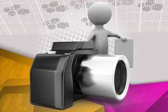3d man with camera and note illustration Royalty Free Stock Photography
