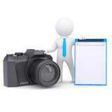 3d man and camera. 3d white man and a camera.  render on a white background Stock Photos