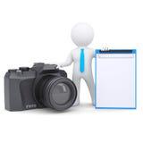 3d man and camera Stock Photos