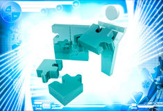 3d man can not solve golden jigsaw puzzle illustration Royalty Free Stock Photography