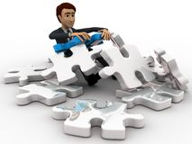 3d man can not solve puzzle concept Royalty Free Stock Photography