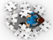 3d man can not solve puzzle concept Stock Photography