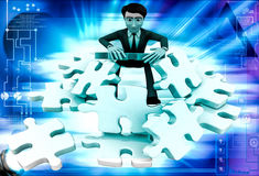 3d man can not solve puzzle illustration Stock Image