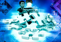 3d man can not solve puzzle illustration Stock Images