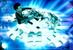 3d man can not solve puzzle illustration Stock Photos