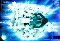 3d man can not solve puzzle illustration Royalty Free Stock Image