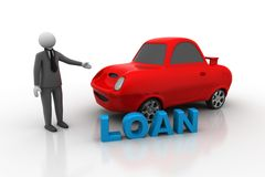 3d man with car, car loan concept Royalty Free Stock Photography