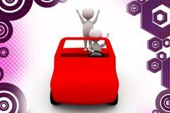 3d man in car enjoy  illustration Royalty Free Stock Image