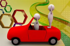 3d man in car enjoy  illustration Royalty Free Stock Images