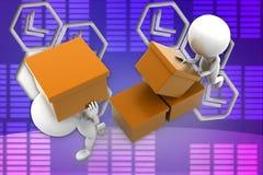 3d man cargo illustration Stock Image
