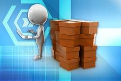 3d man cargo illustration Royalty Free Stock Photo