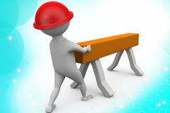 3d man carpenter  illustration Royalty Free Stock Photo
