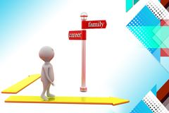 3d man carreer and family path  illustration Stock Photo