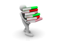 3d man carries the books. 3d render of  man carries the books Stock Images