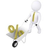 3d man carries wheelbarrow the golden percentage Stock Image