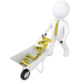 3d man carries wheelbarrow the golden word plan Royalty Free Stock Images