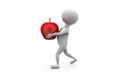 3d man carry apple concept Royalty Free Stock Photos