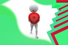 3d man carry apple illustration Stock Images