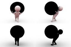 3d man carry big ball concept collections with alpha and shadow channel Royalty Free Stock Photo