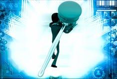 3d man carry big hammer illustration Stock Image
