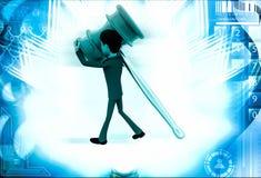 3d man carry big hammer illustration Royalty Free Stock Images