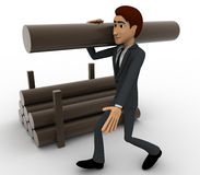 3d man carry big wooden trunk on shoulder concept Royalty Free Stock Images