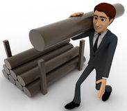 3d man carry big wooden trunk on shoulder concept Royalty Free Stock Photo