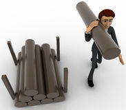 3d man carry big wooden trunk on shoulder concept Royalty Free Stock Photos