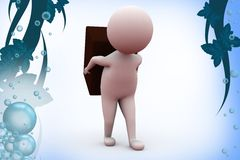 3d man carry block   illustration Royalty Free Stock Images
