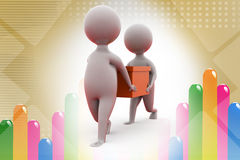 3d man carry box  illustration Stock Photos