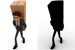 3d man carry boxes on back concept collections with alpha and shadow channel Stock Photos
