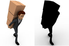 3d man carry boxes on back concept collections with alpha and shadow channel Royalty Free Stock Images
