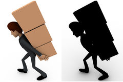 3d man carry boxes on back concept collections with alpha and shadow channel Royalty Free Stock Image
