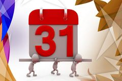 3d man carry calendar  illustration Royalty Free Stock Photo