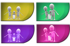 3d Man carry child concept icon Royalty Free Stock Images