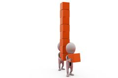 3d man carry cubes concept Stock Image