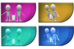 3d Man carry dustbin concept icon Royalty Free Stock Photo