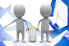 3d man carry dustbin illustration Stock Image
