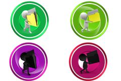 3D Man carry file concept icon Royalty Free Stock Photos