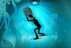 3d man carry file concept Royalty Free Stock Image