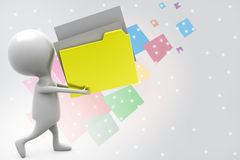 3d man carry file illustration Stock Images