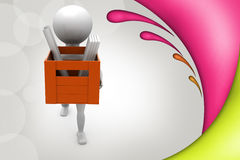 3d man carry file and paper illustration Royalty Free Stock Photos