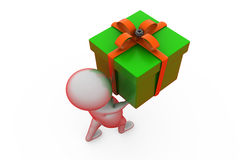 3d man carry gift concept Royalty Free Stock Photo