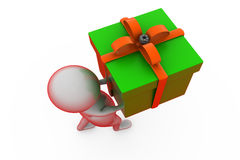 3d man carry gift concept Royalty Free Stock Photos