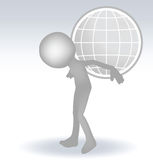 3d man carry globe on back Royalty Free Stock Images