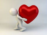 3D man carry heart. On back Royalty Free Stock Images