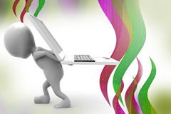 3d man carry laptop  illustration Royalty Free Stock Images