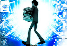 3d man carry many files in hand illustration Stock Photo